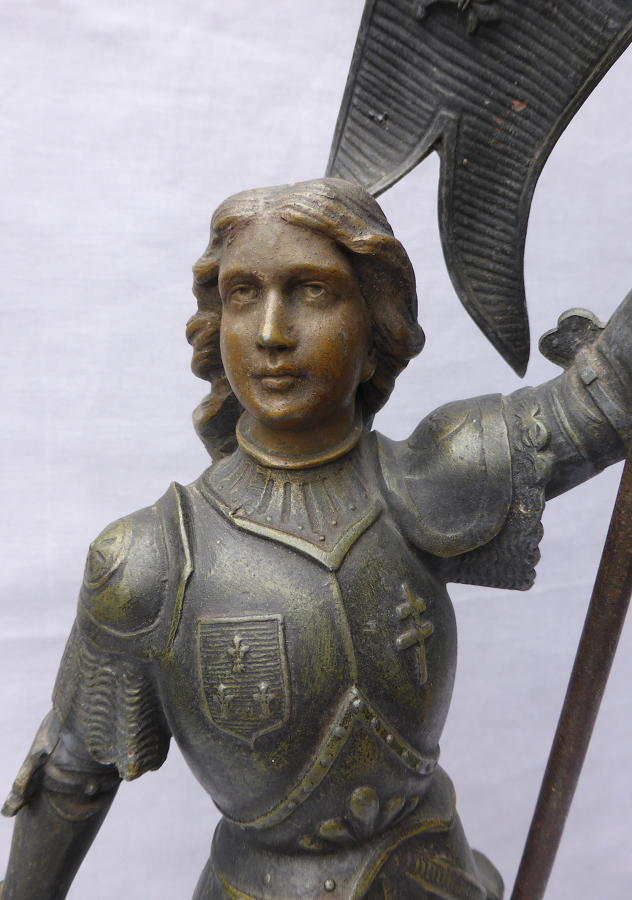 Late 19th century spelter Jeanne d'Arc statuette