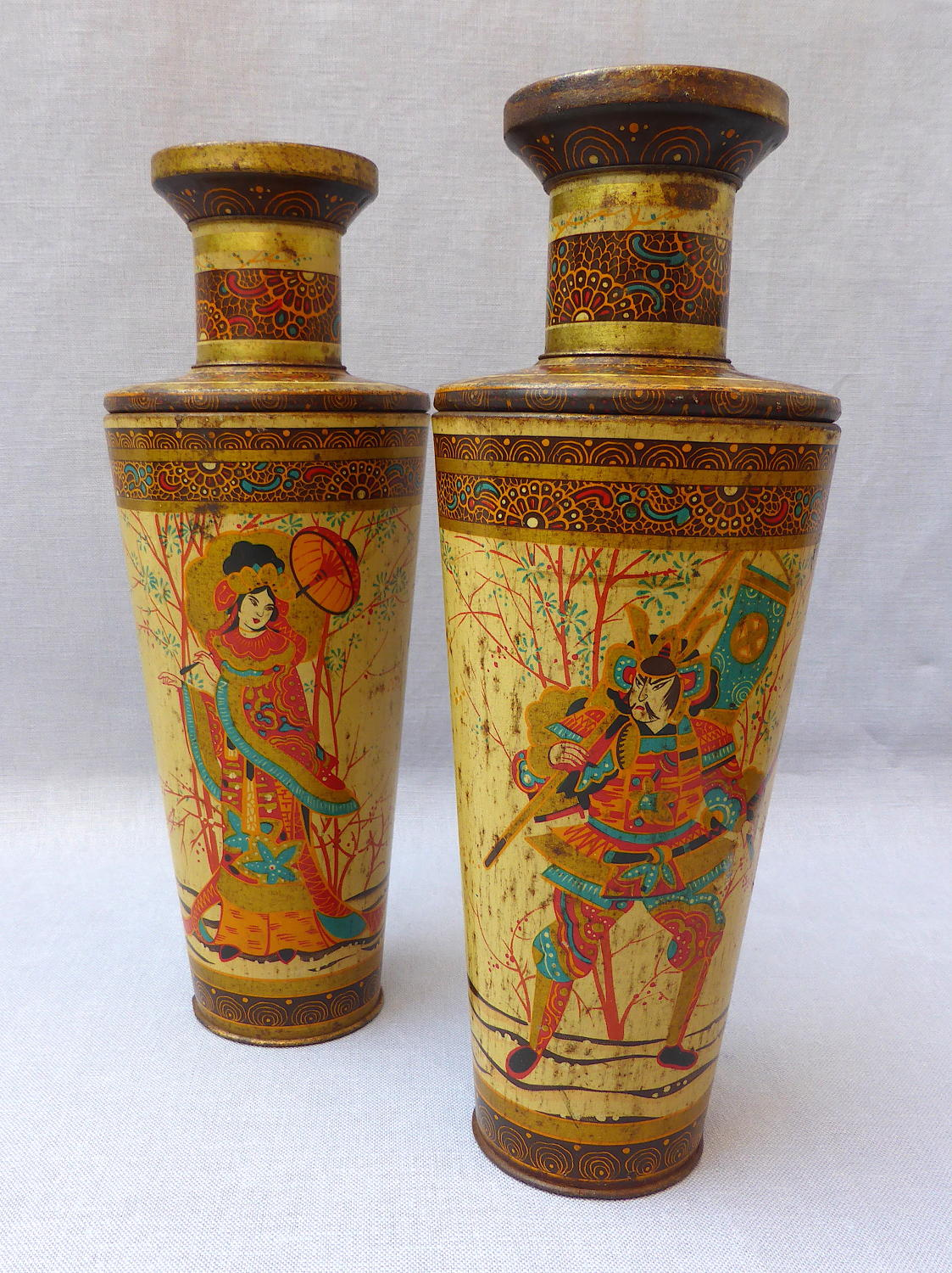 Pair oriental vase toleware biscuit tins early 20th century