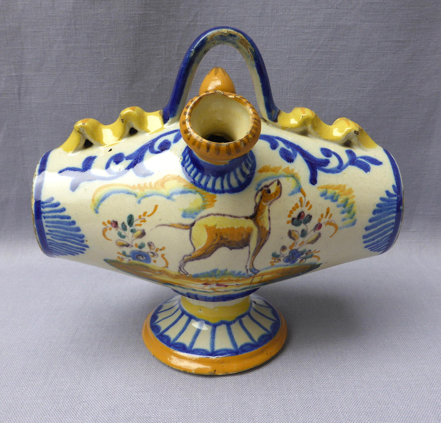 19th century Spanish faience botijo drinking flask