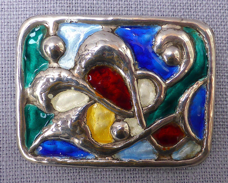 Modernist Oystein Balle Norwegian silver & enamel brooch