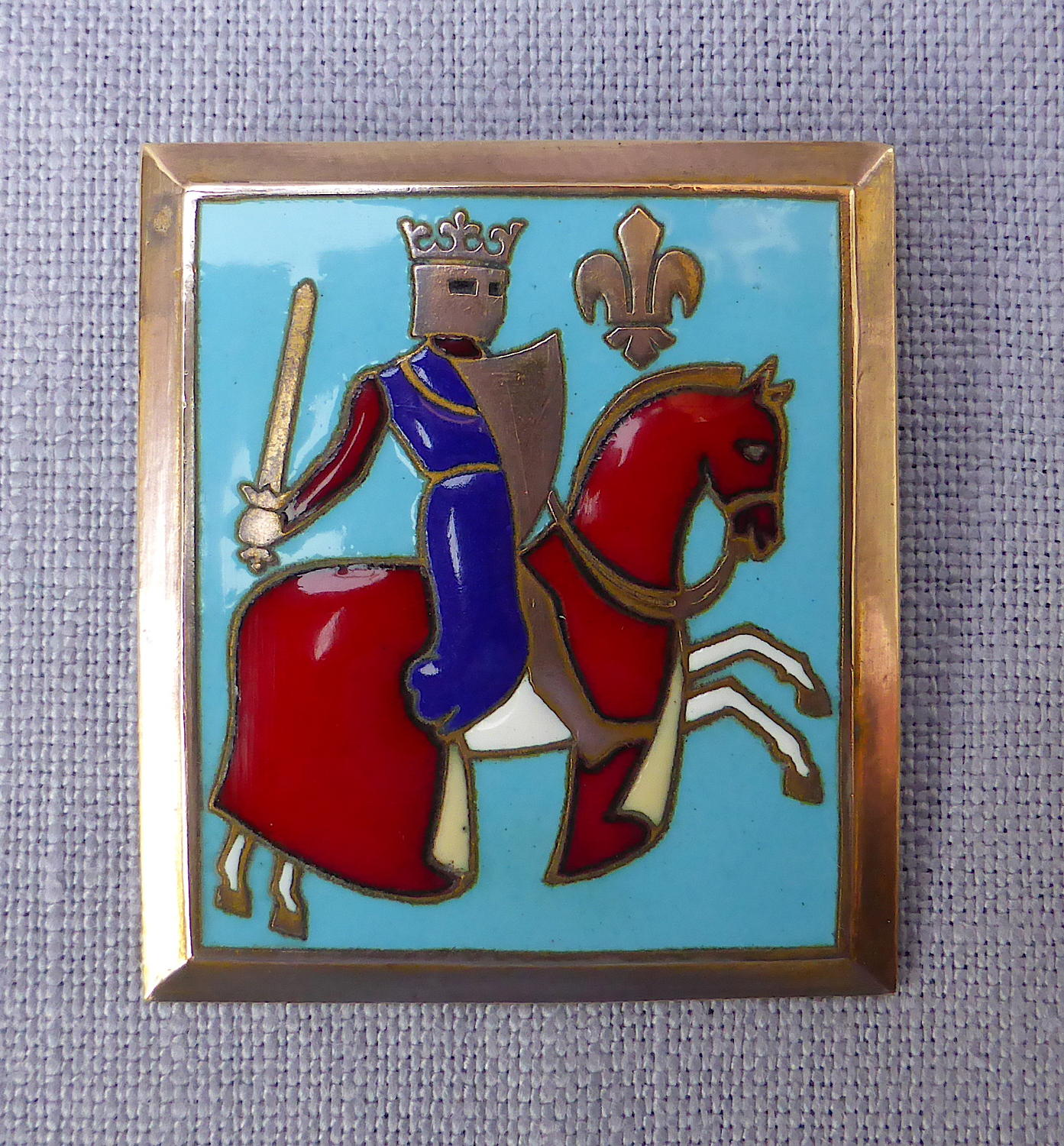Enamelled French knight on horseback brooch by F Bouillot