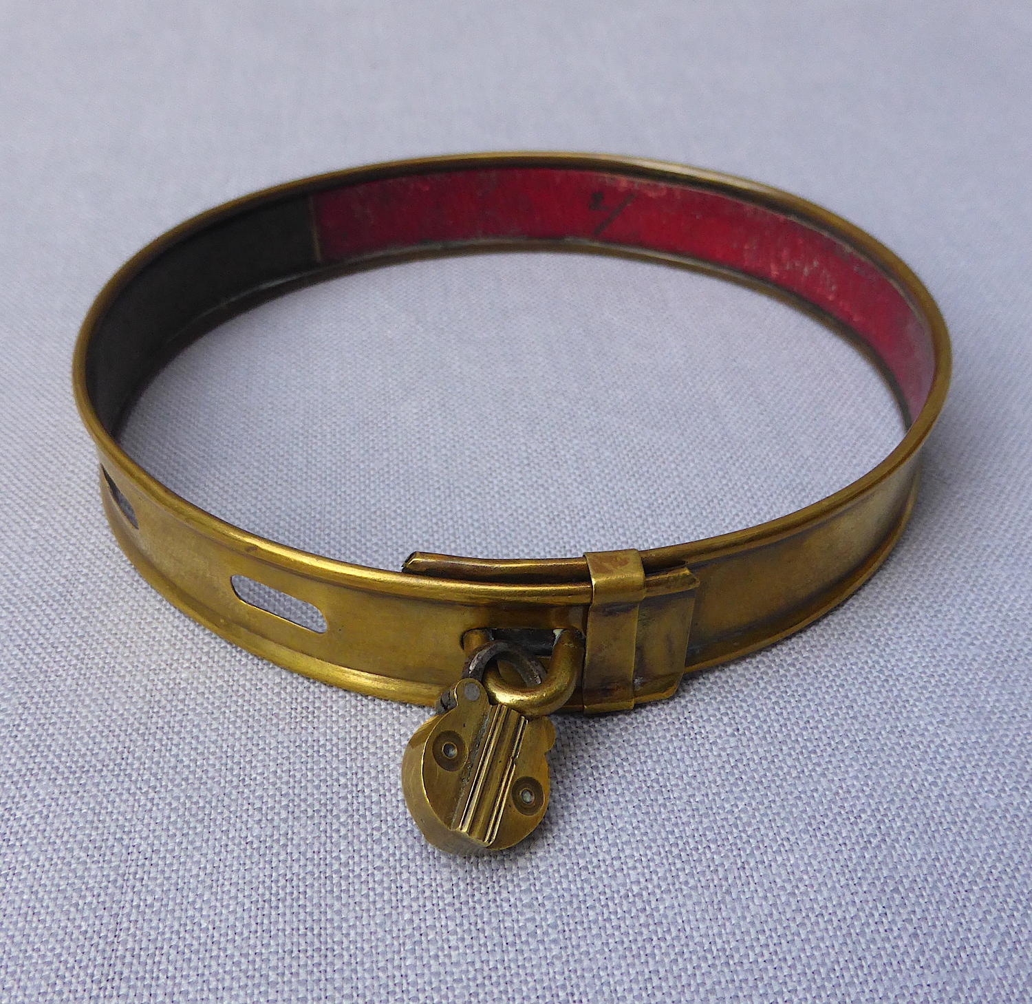 Victorian brass dog collar with trick padlock