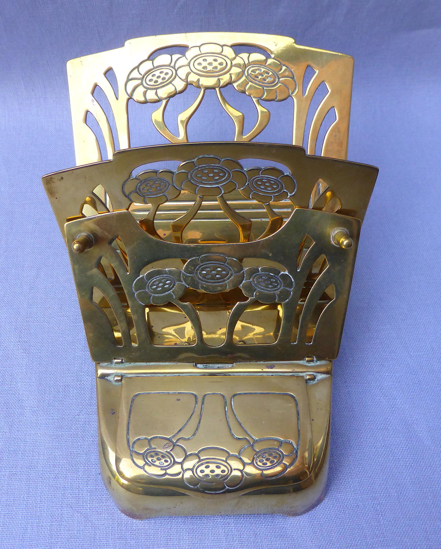 German Jugendstil brass letter holder with inkwell