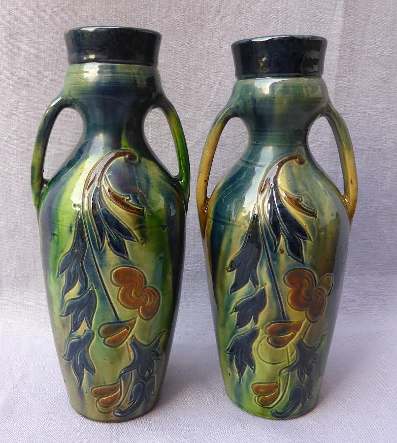 Pair of Belgian Blue art pottery faience vases