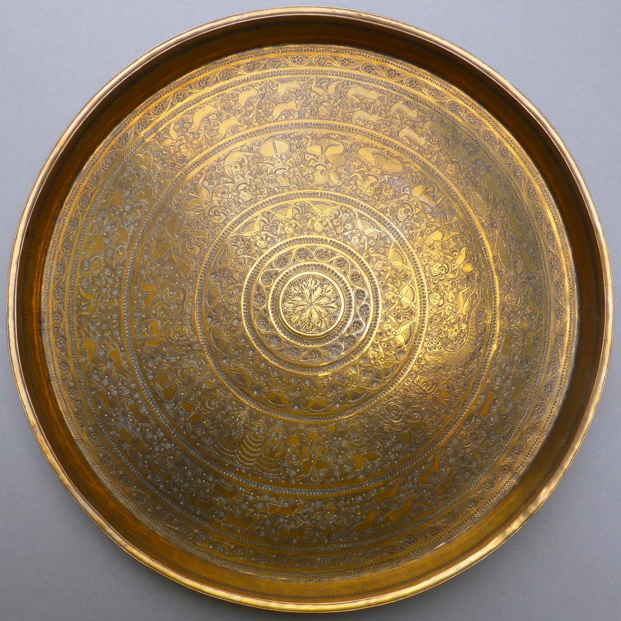 Very fine late 19th century Benares brass tray