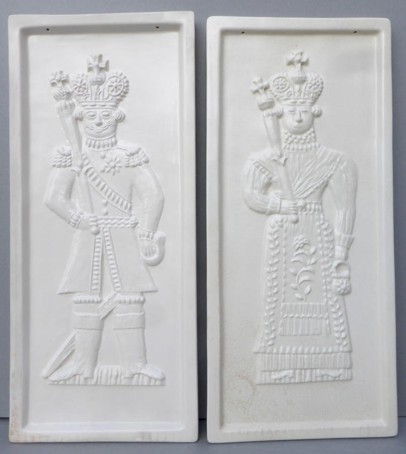 Pair of king & queen biscuit mould wall plaques