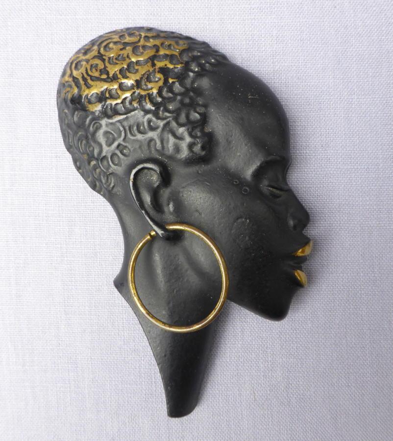 Mid 20th century Richard Rohac bronze African head wall mask