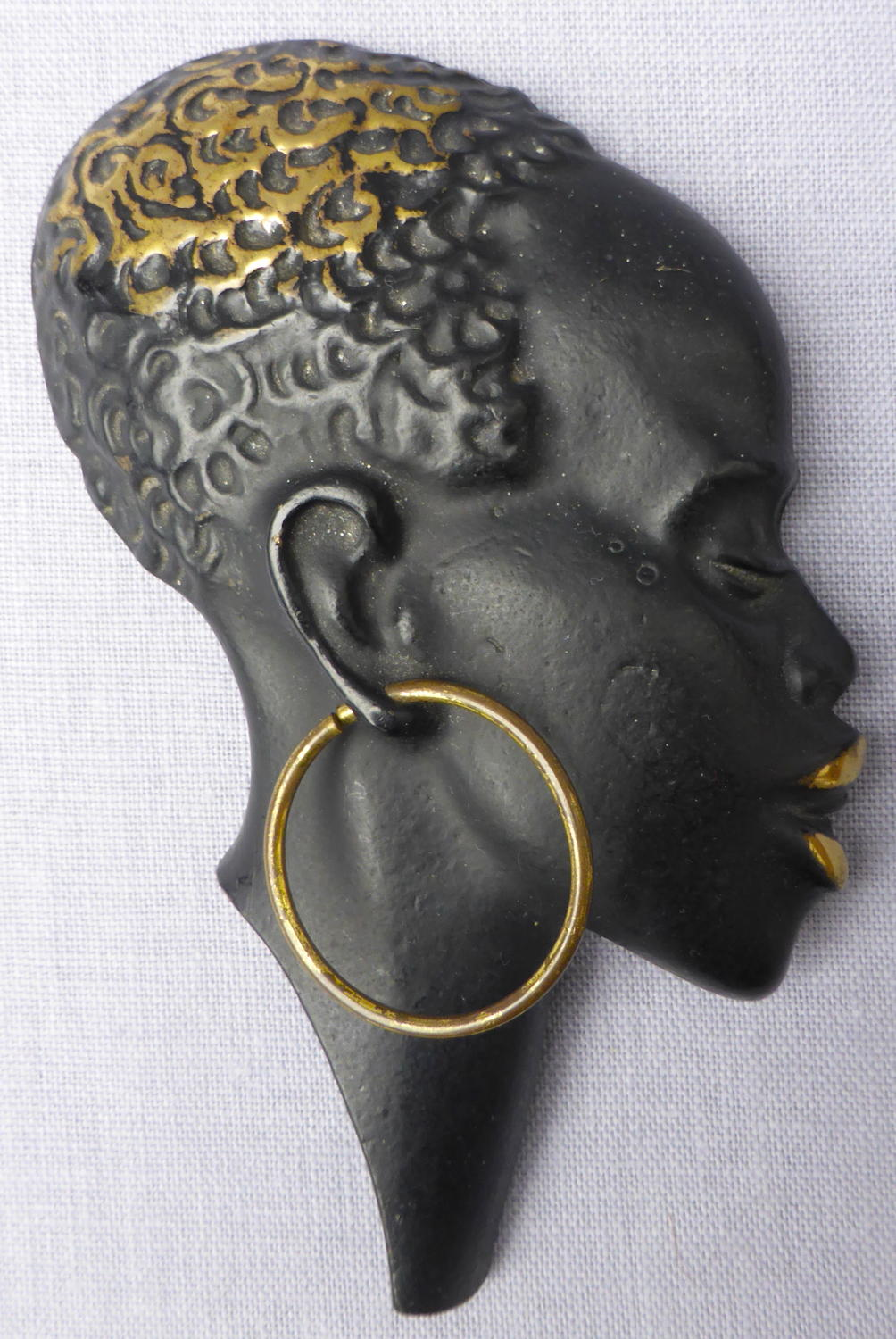 Mid 20th century Richard Rohac bronze African head wall mask