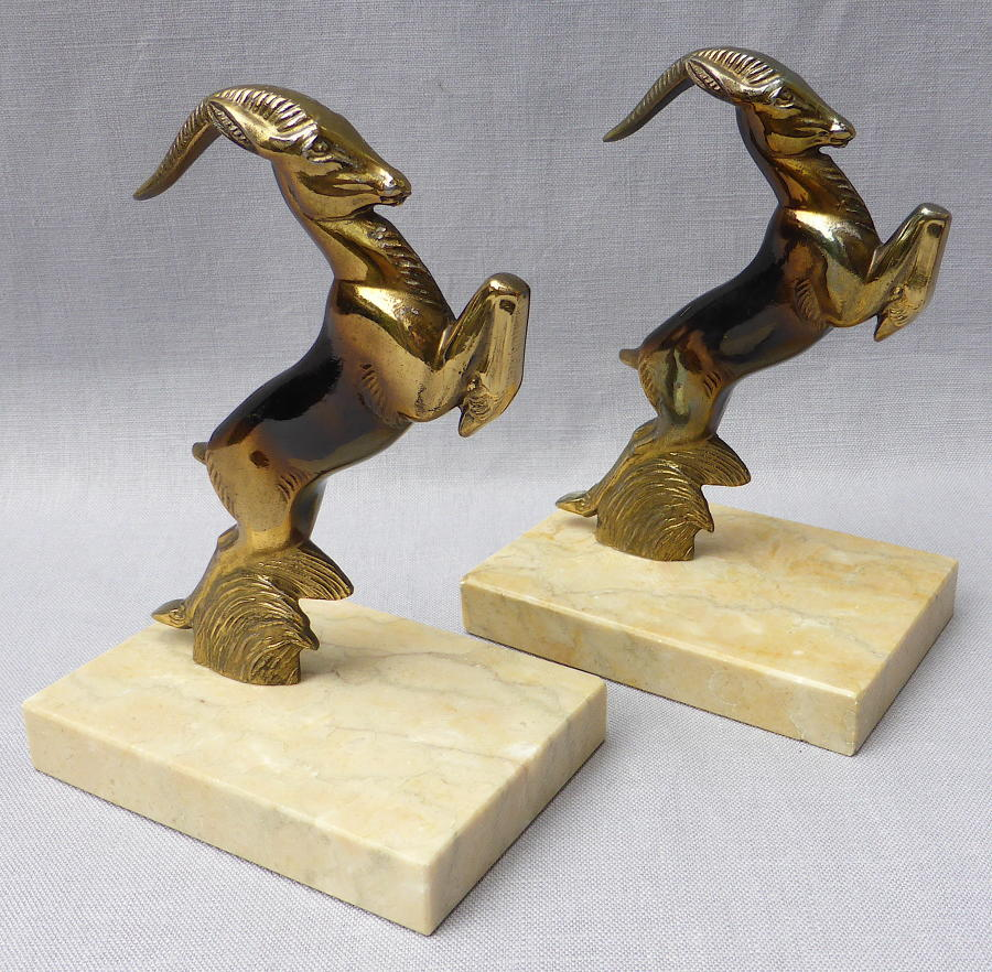 Pair of French Art Deco antelope bookends