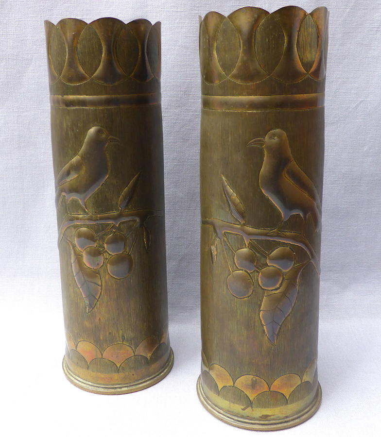 Pair of WWI brass shell case trench art vases