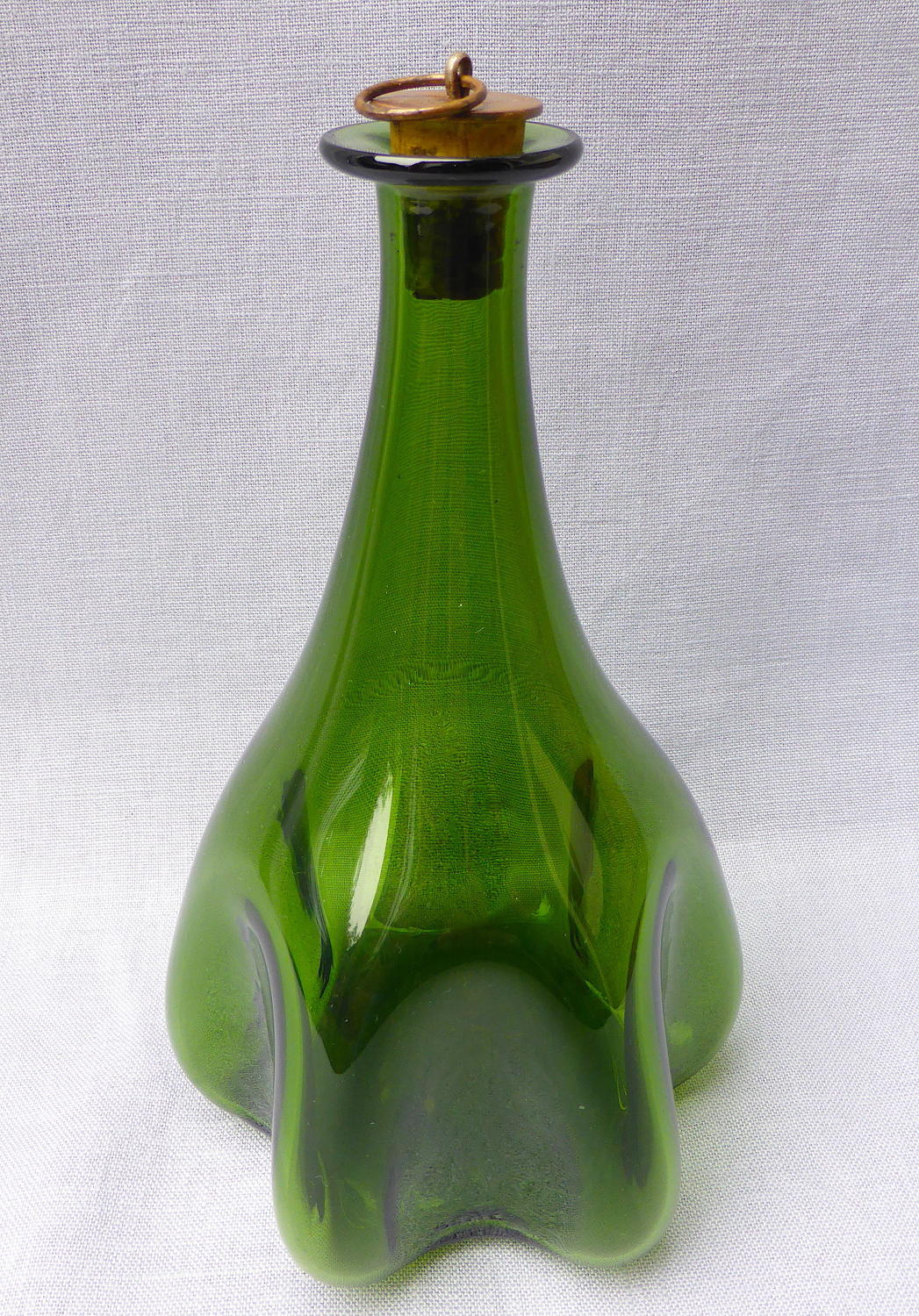 19th century melon-lobbed glass barber bottle