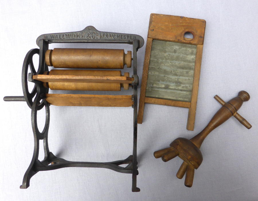 19th century miniature washing mangle, dolly & washboard