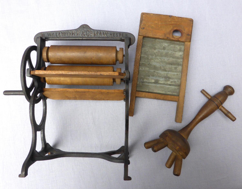 19th century miniature washing mangle, dolly & washboard