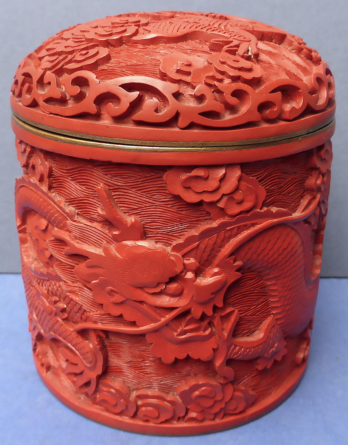 Chinese Cinnabar Lacquer Lidded Dragon Box