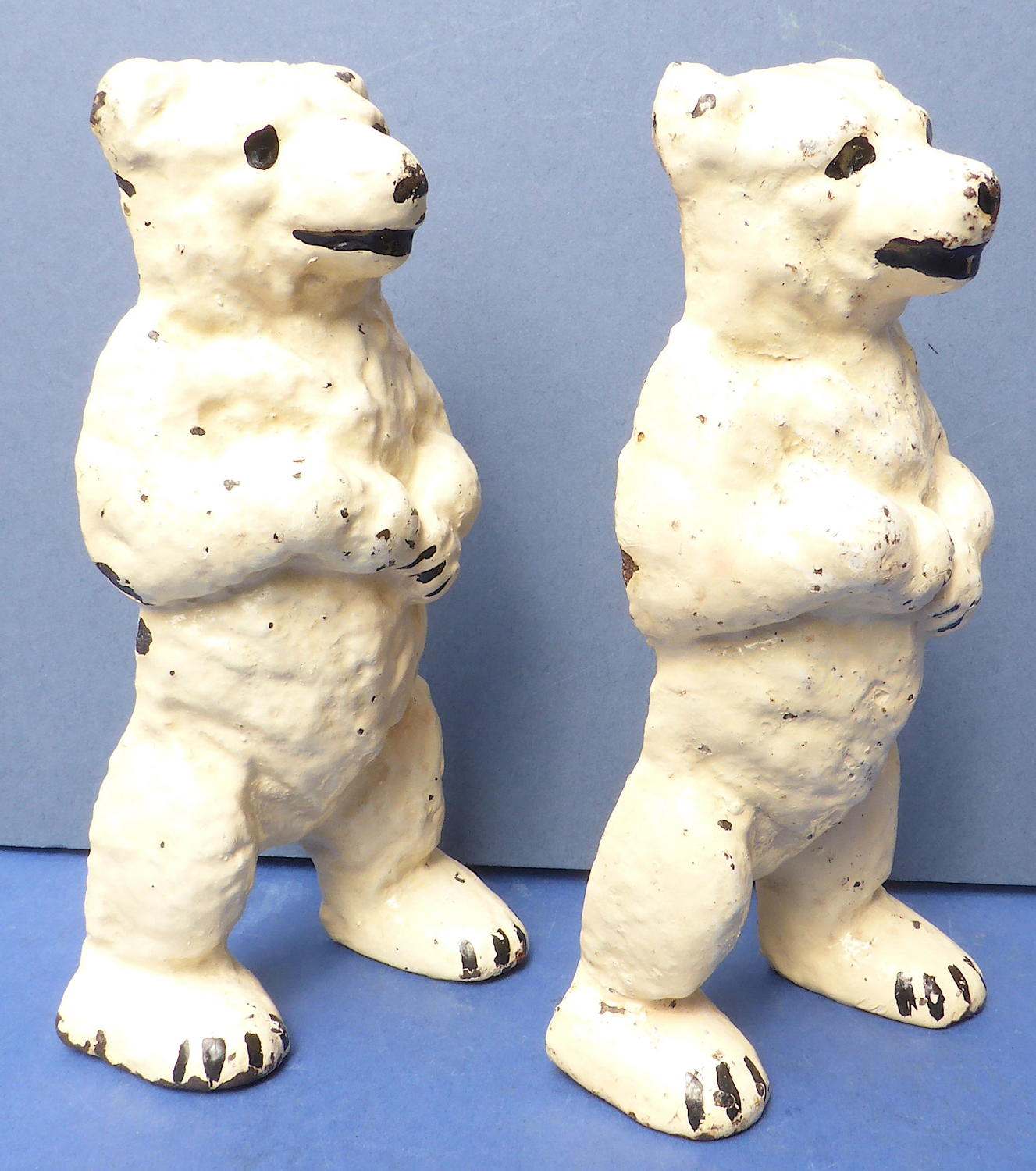 Antique Pair of Cast Iron Polar Bears