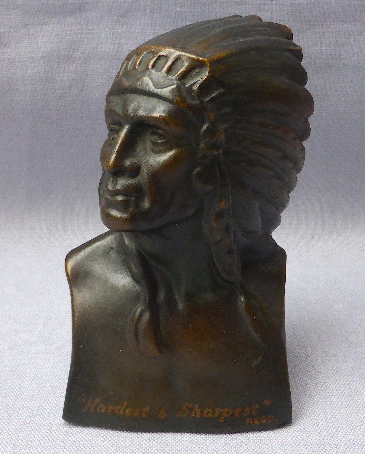 Carborundum American Indian advertising desk ornament 1920s