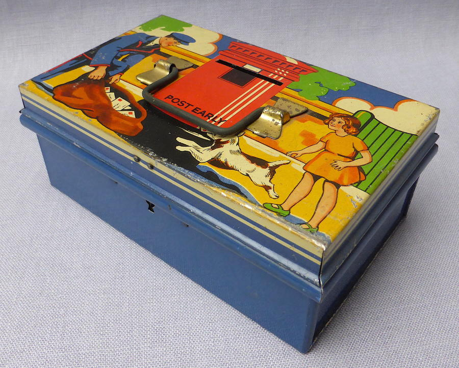 1930s Burnett Post Early tinplate money box