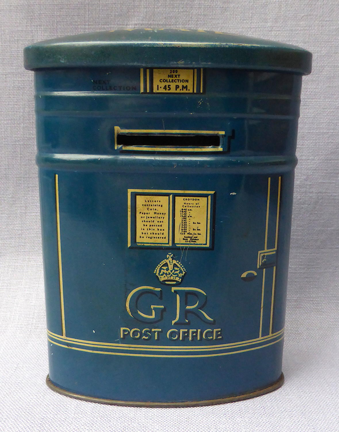 Rare 1930s blue airmail postbox money box