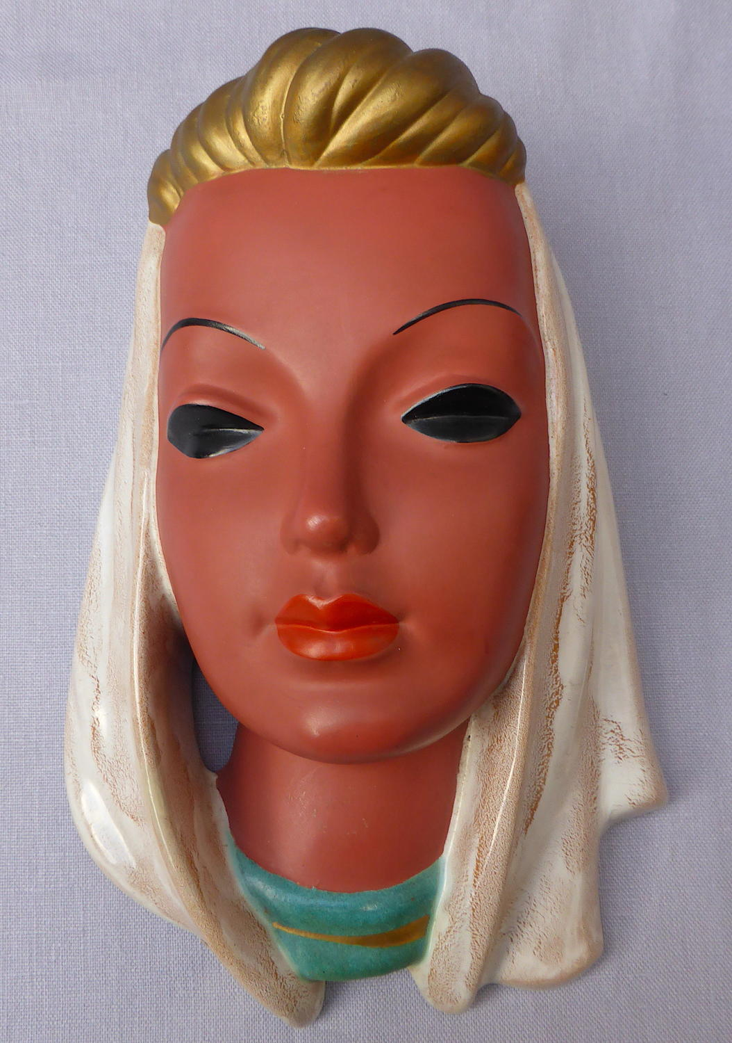 1950s Goldscheider ceramic wall mask by Adolf Prischl