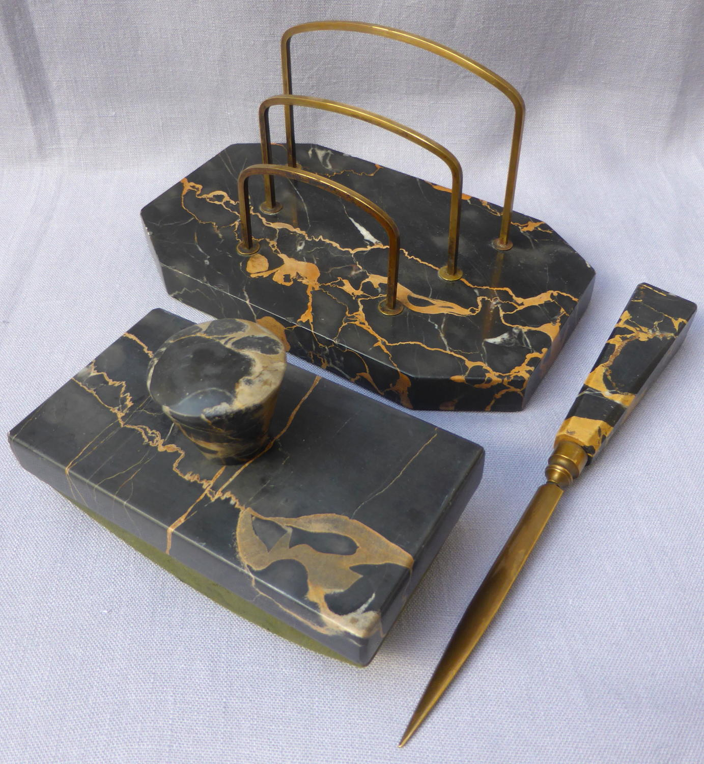 Art Deco Portoro marble desk set