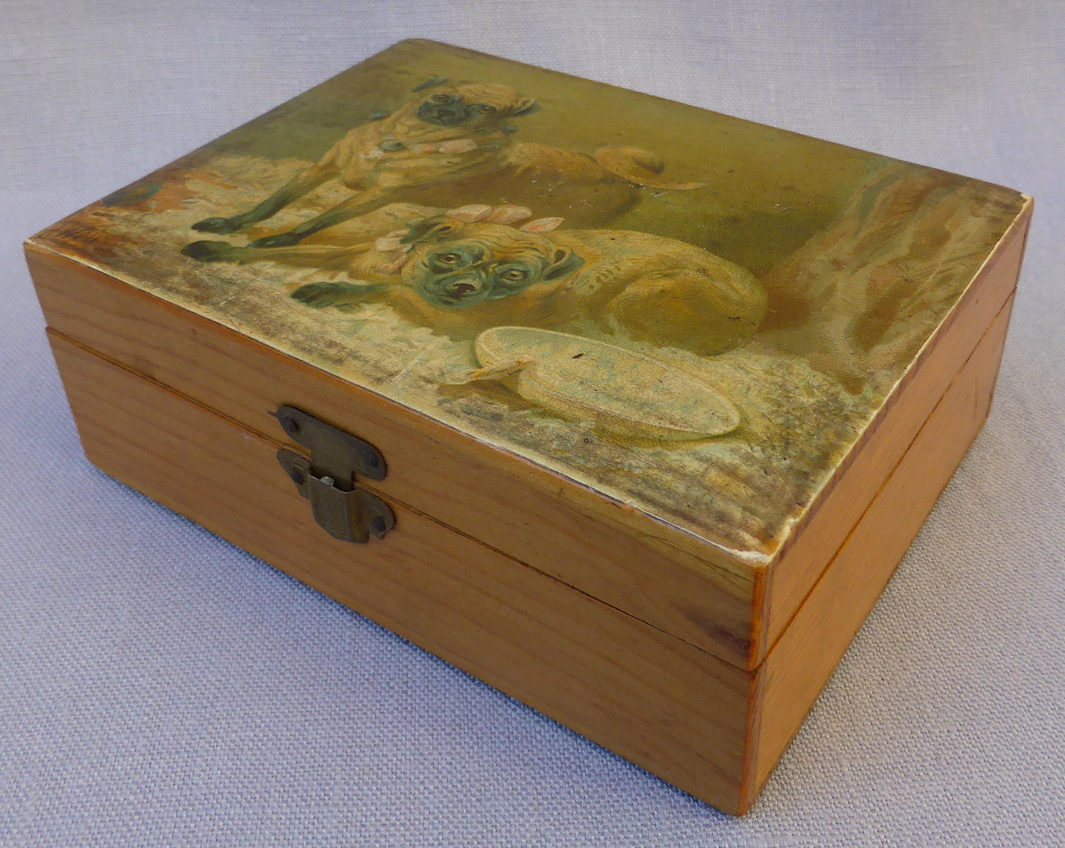 Pug dog Mauchline ware box decorated by Harrison Weir