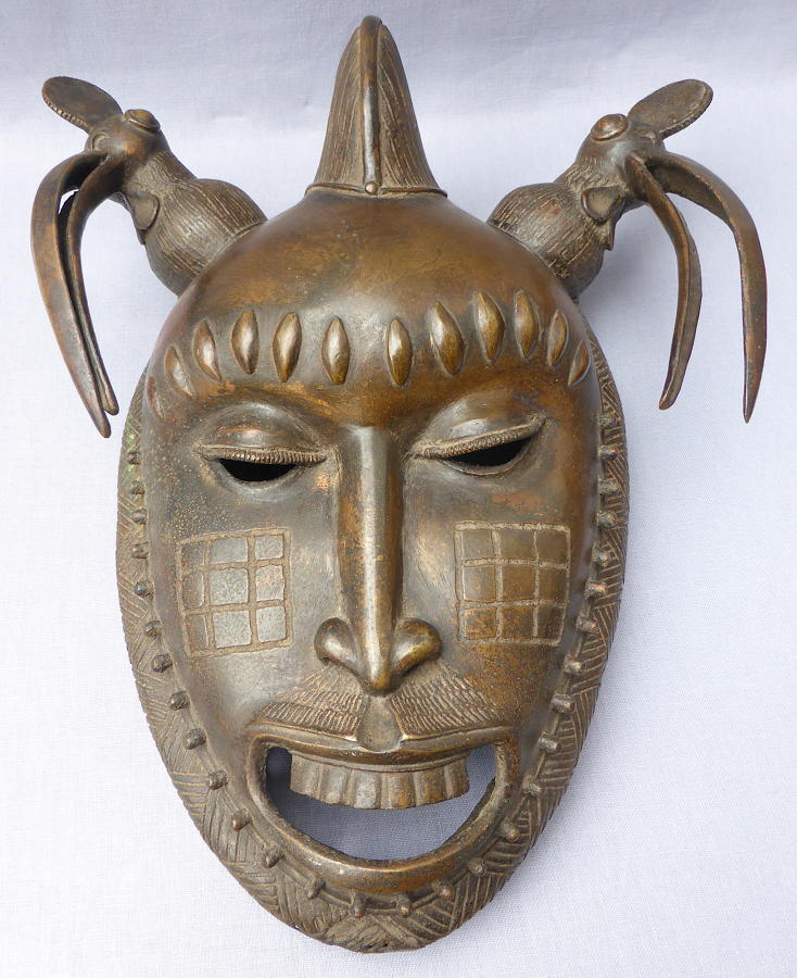 Bronze Baoule ceremonial portrait mask early 20th century