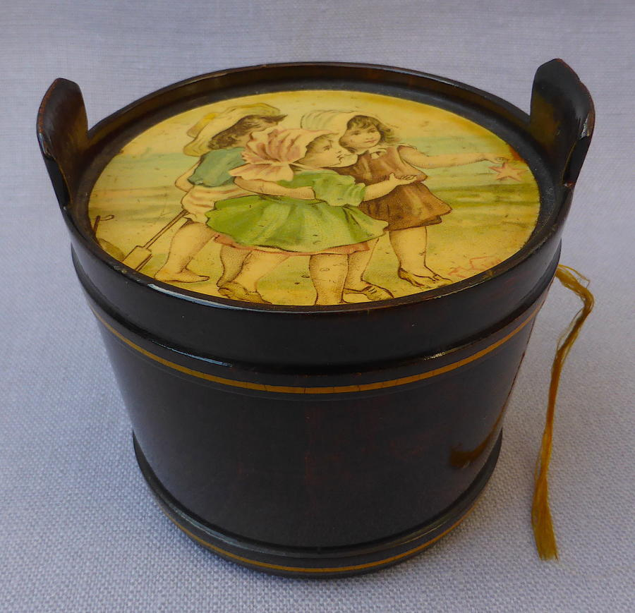 19thC novelty pail shaped Mauchline thread holder