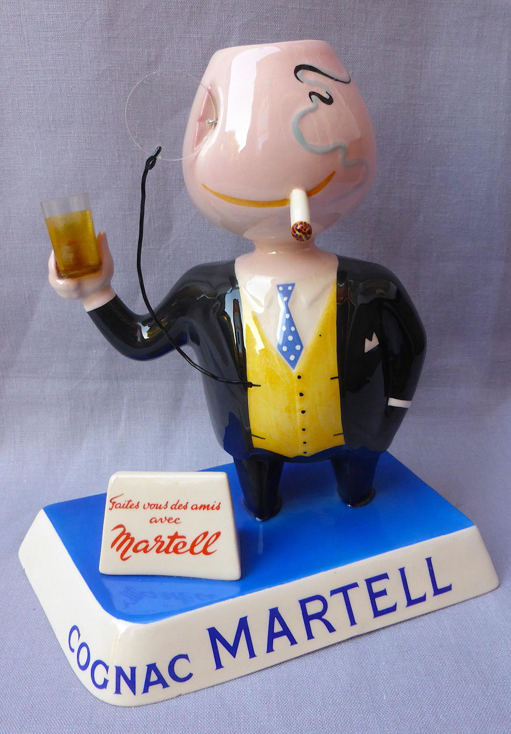 20thC Martell Cognac Quimper advertising bar figure