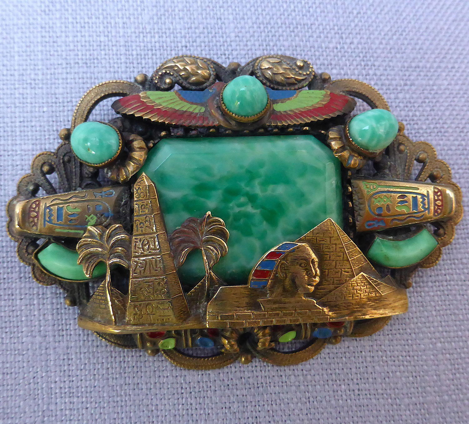 1920s Max Neiger Egyptian Revival brooch