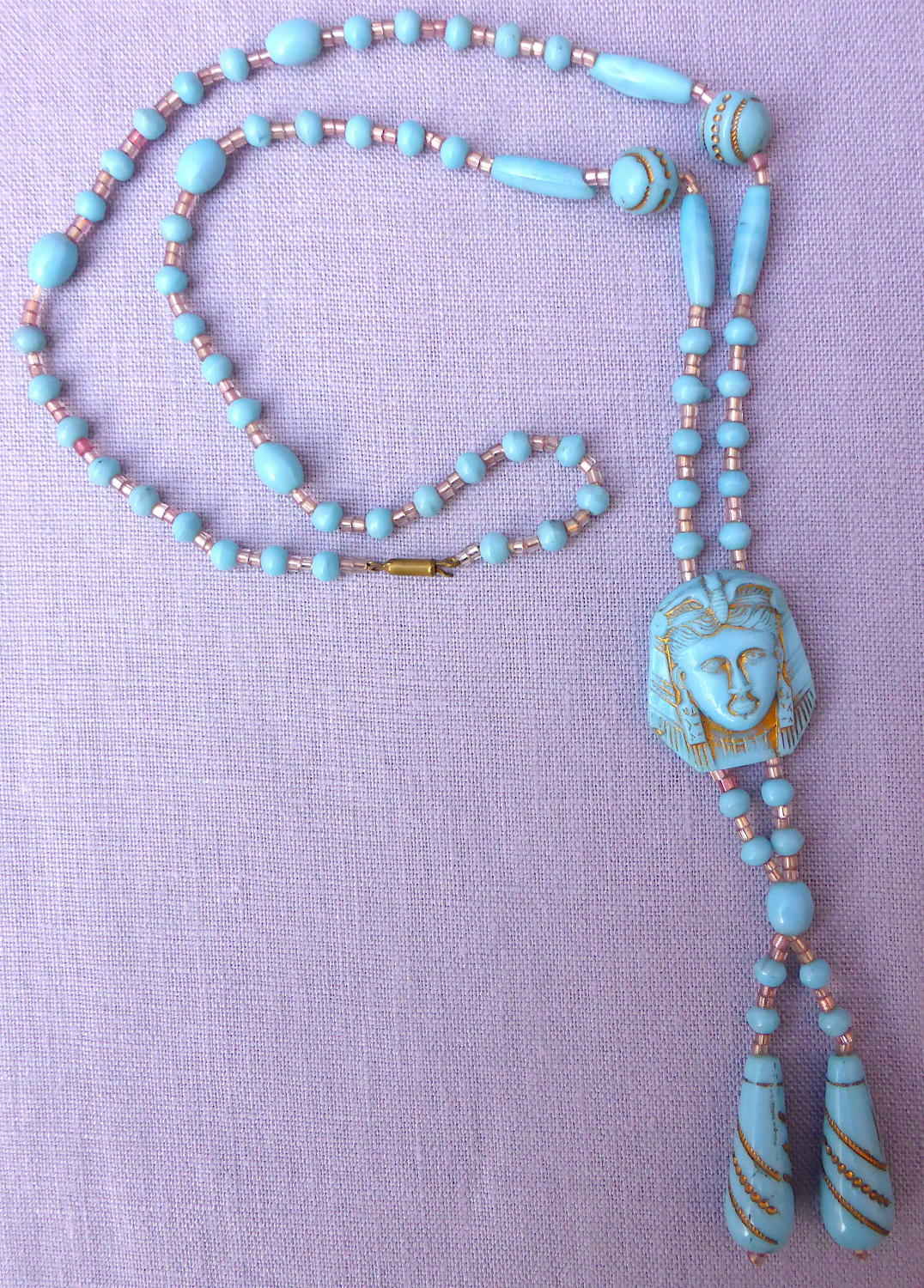 1920s Max Neiger Egyptian Revival pharaoh necklace