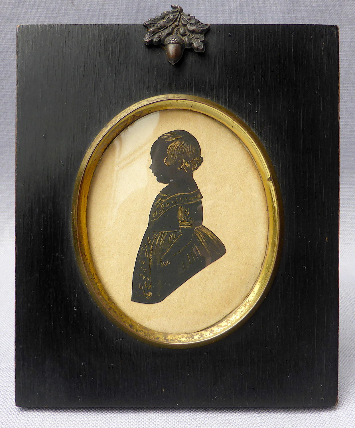 19th century framed cut paper miniature portrait of a child