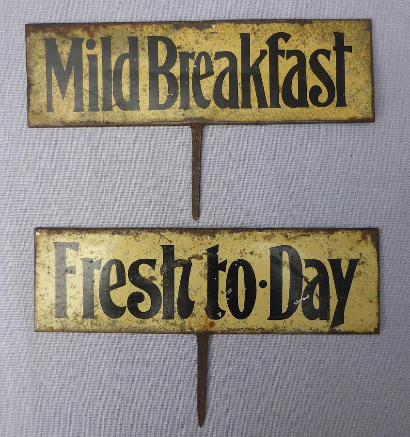 Pair of Edwardian Durable tin grocer's shop signs