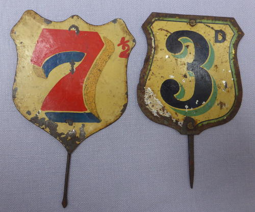 Pair of Edwardian tin grocery shop price signs