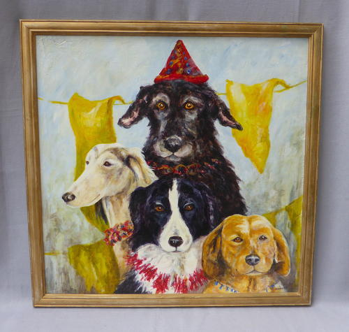 Framed party dogs collograph by Judith Harrison