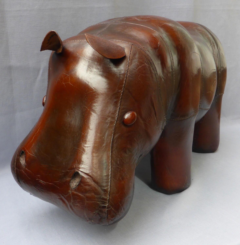 Large vintage leather hippo ottoman footstool