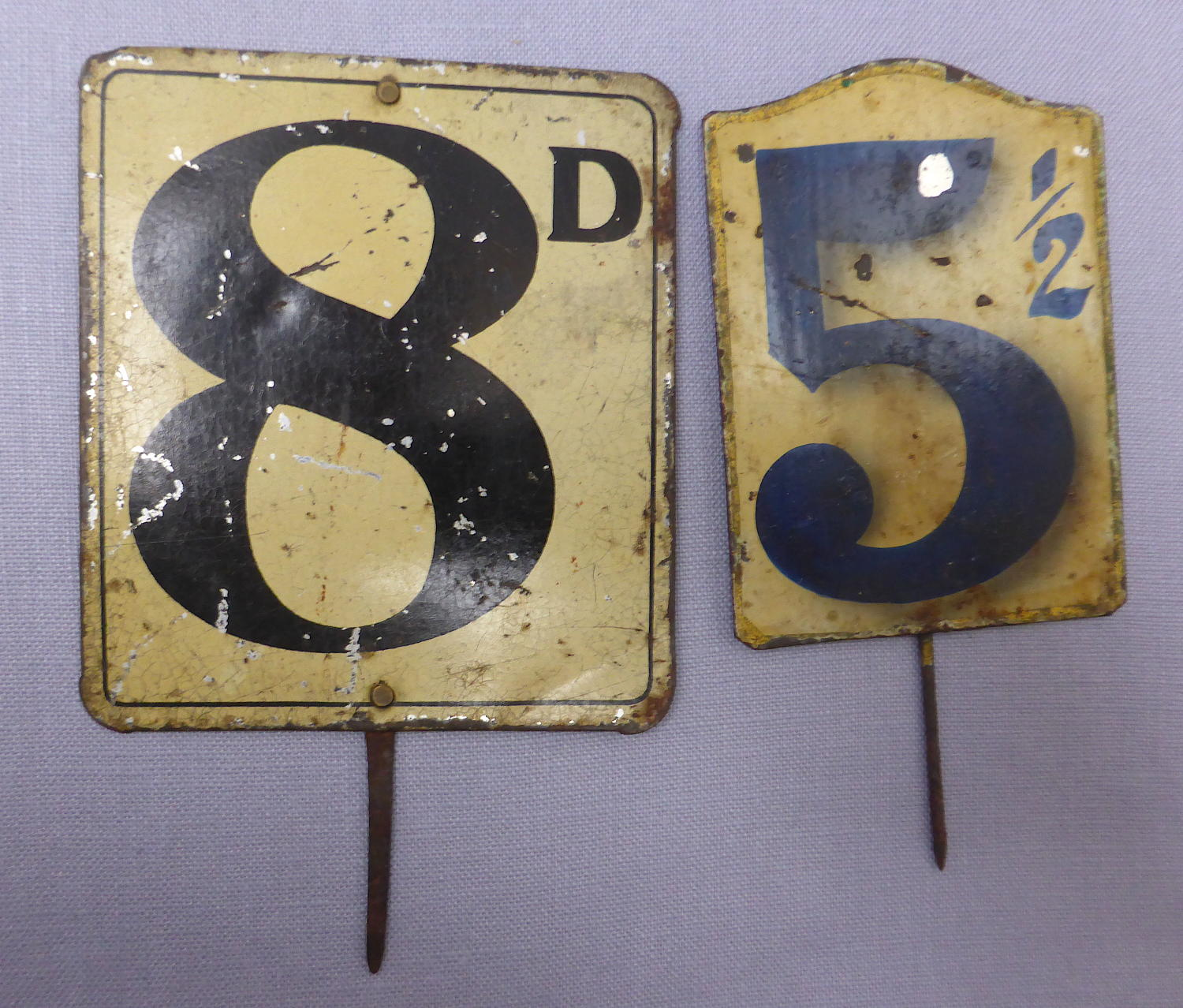 Pair of Edwardian tin grocery shop price labels