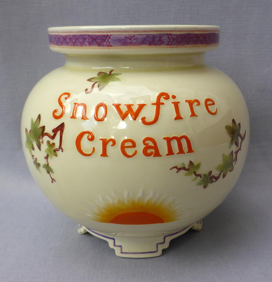 Large Snowfire Cream chemist jar early 20thC