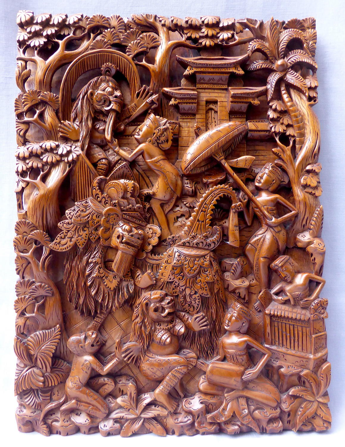 Mythological Balinese carved wall plaque