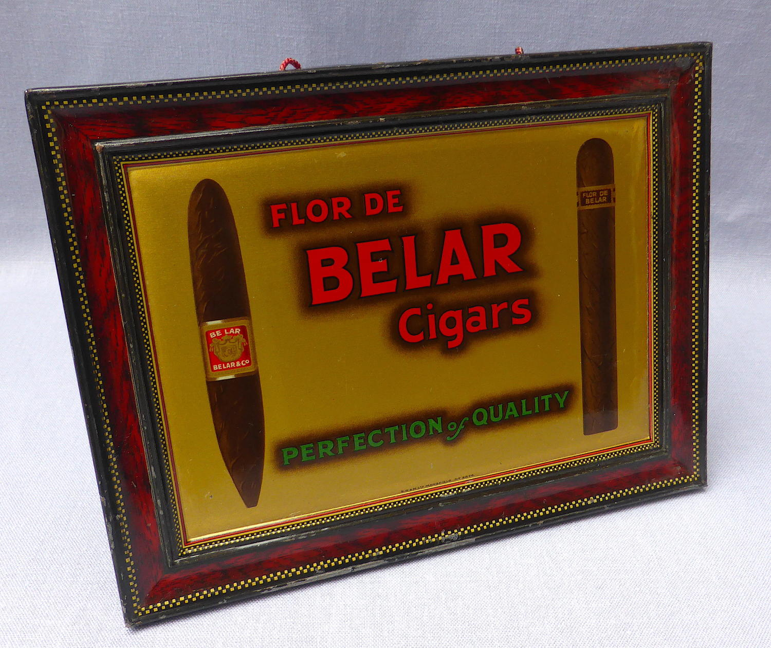 Flor de Belar Cigars Tin Shop Advertising Sign