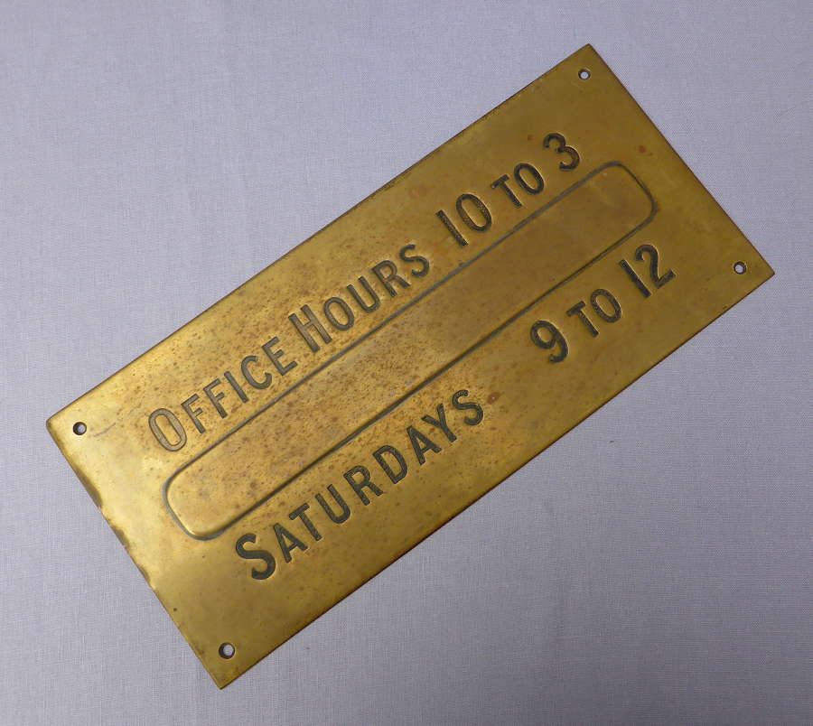 Early 20th Century Brass Office Hours Plaque