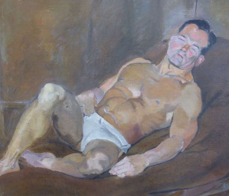 Double Sided Oil on Canvas Painting Male Study 1950s