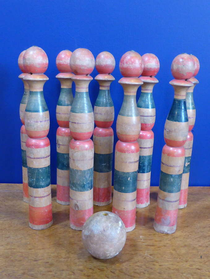 Early 20thC Set of Large French Wooden Skittles