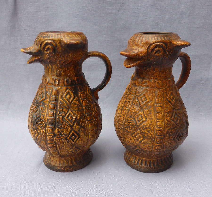 Unusual Pair of 1970s Jasba Aztec Animal Jugs