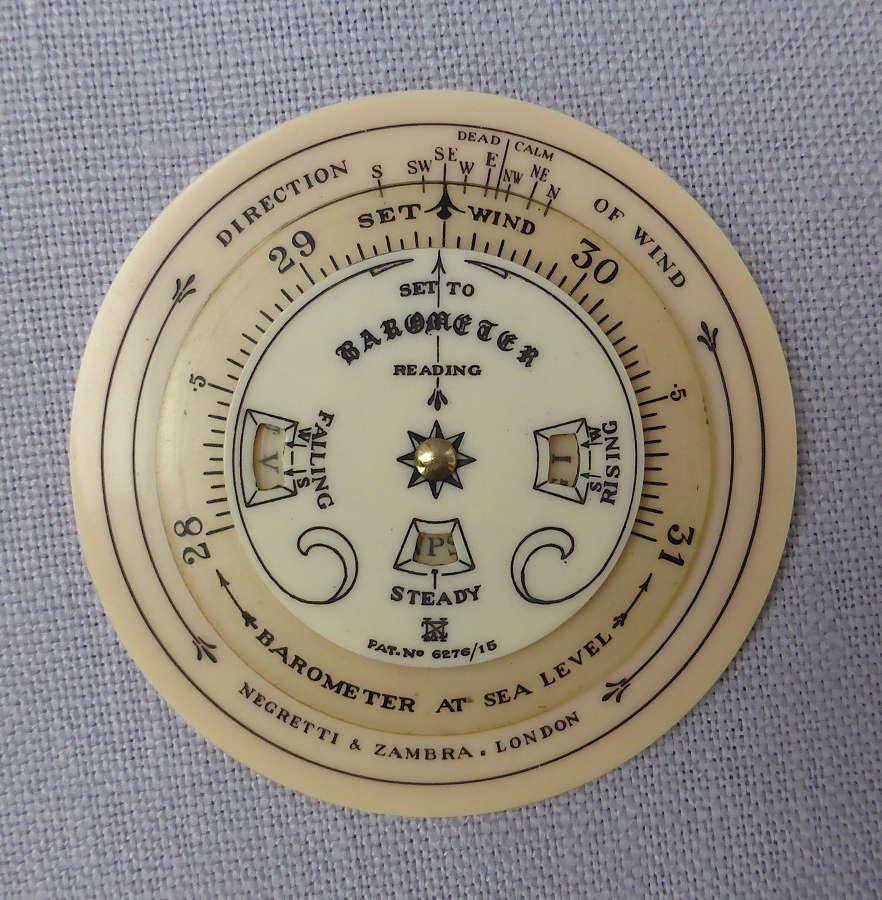 Early 20thC Negretti & Zambra Pocket Forecaster