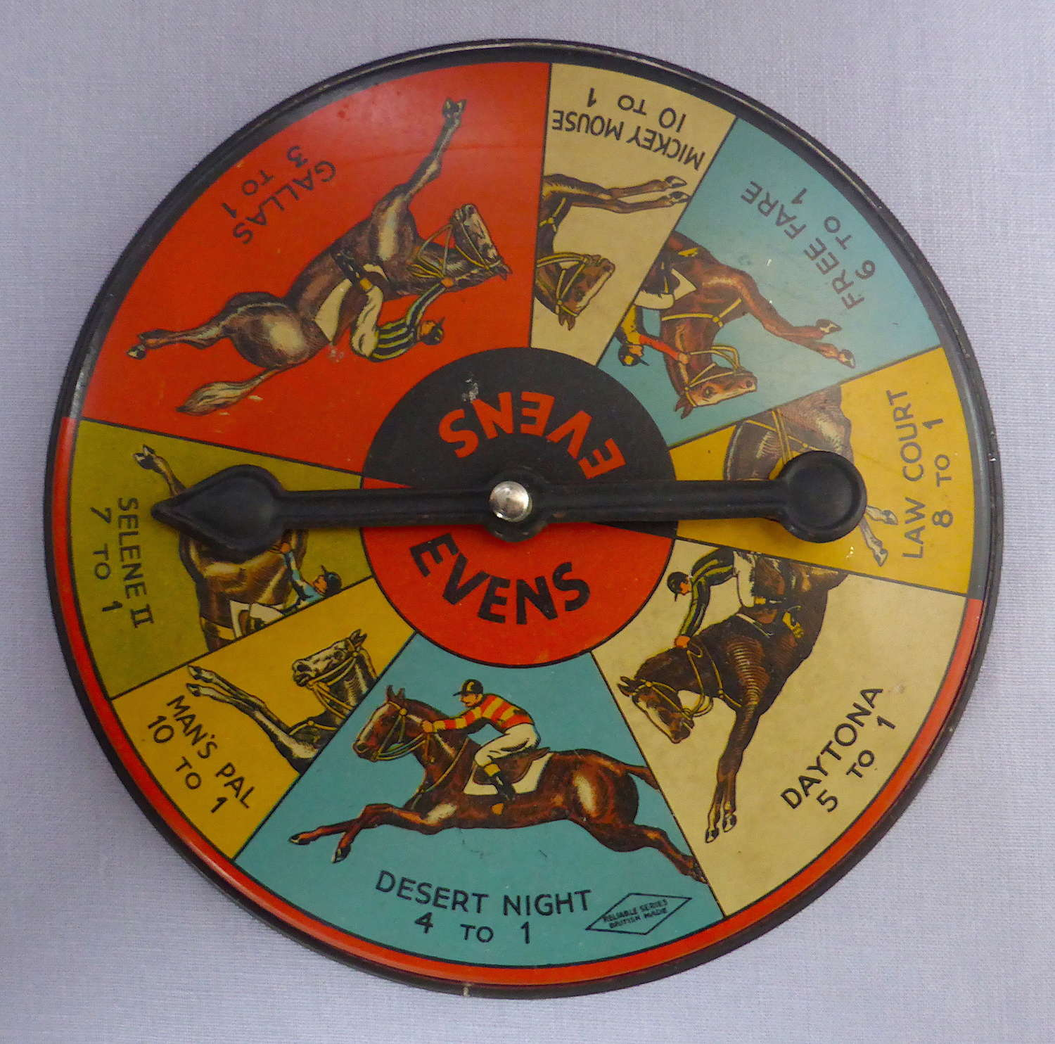 Charming Tinplate Horse Racing Game Spinner