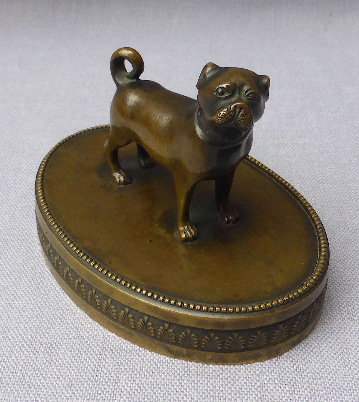 Fine 19thC Bronze Pug Dog Desk Ornament