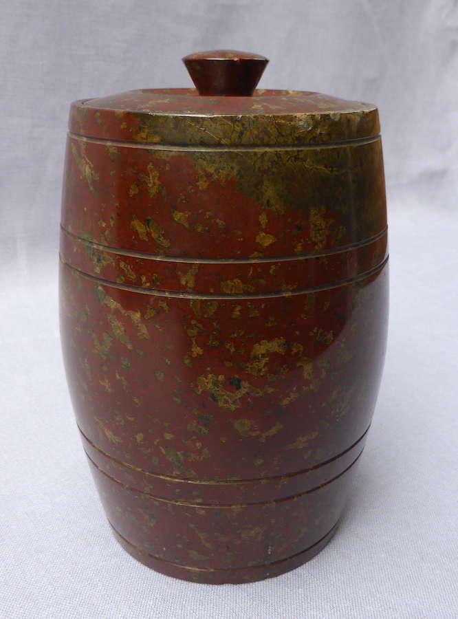 Turned Red Serpentine Tobacco Jar