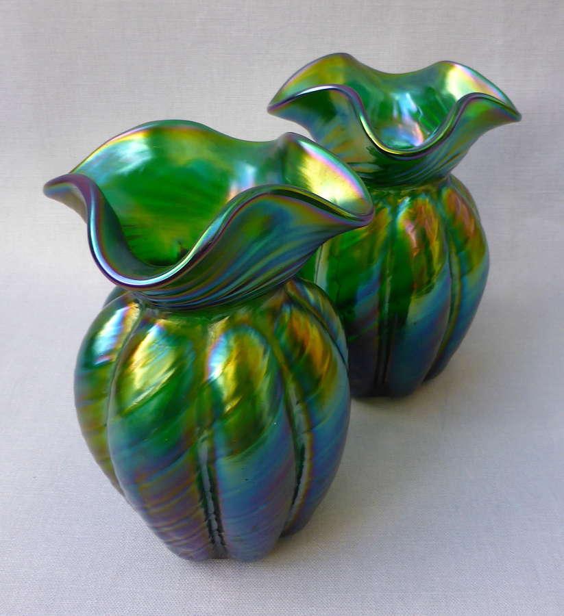 Pair of Art Nouveau Kralik Glass Vases