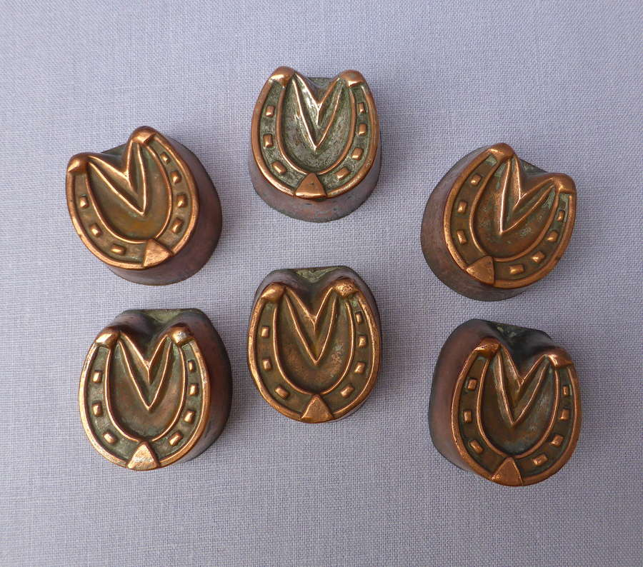 Set of 6 Copper Horseshoe Shaped Aspic Moulds