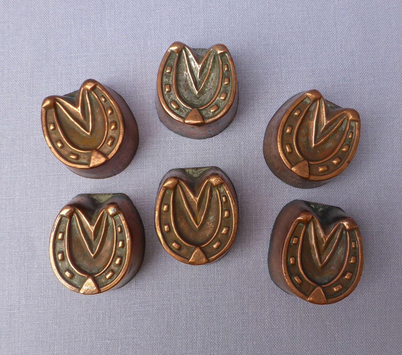 Set of 6 Copper Horseshoe Shaped Aspic Moulds